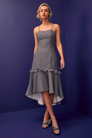 INDULGENT hi low midi dress - navy spot