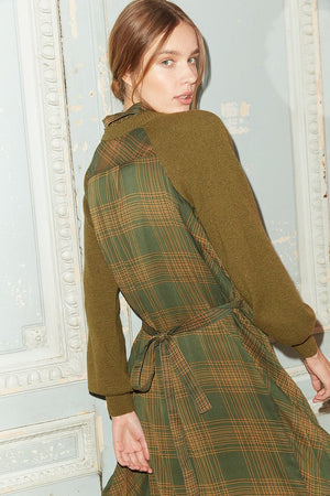 Jovonna London Budapest jumper dress combo in khaki and green check.