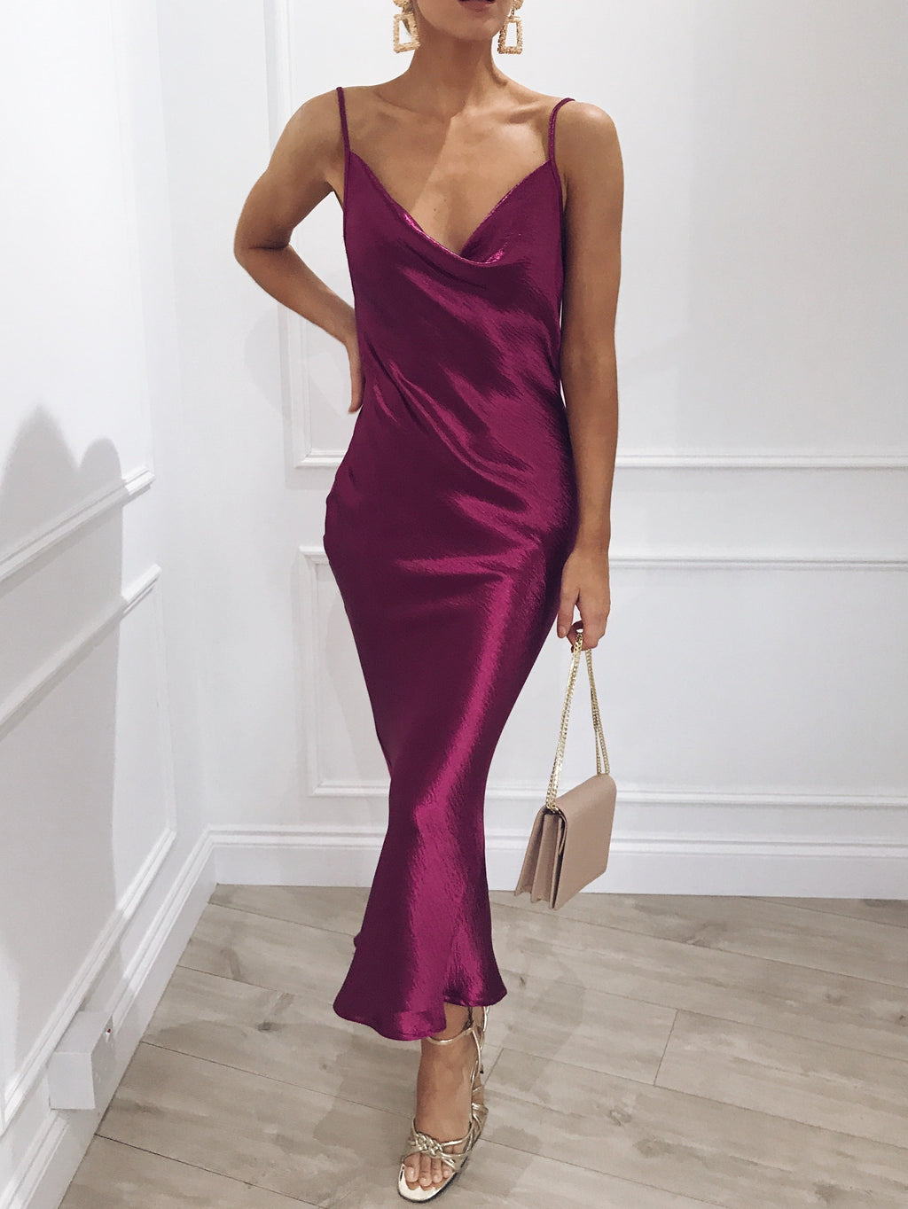 KEISHA low back slip dress - magenta