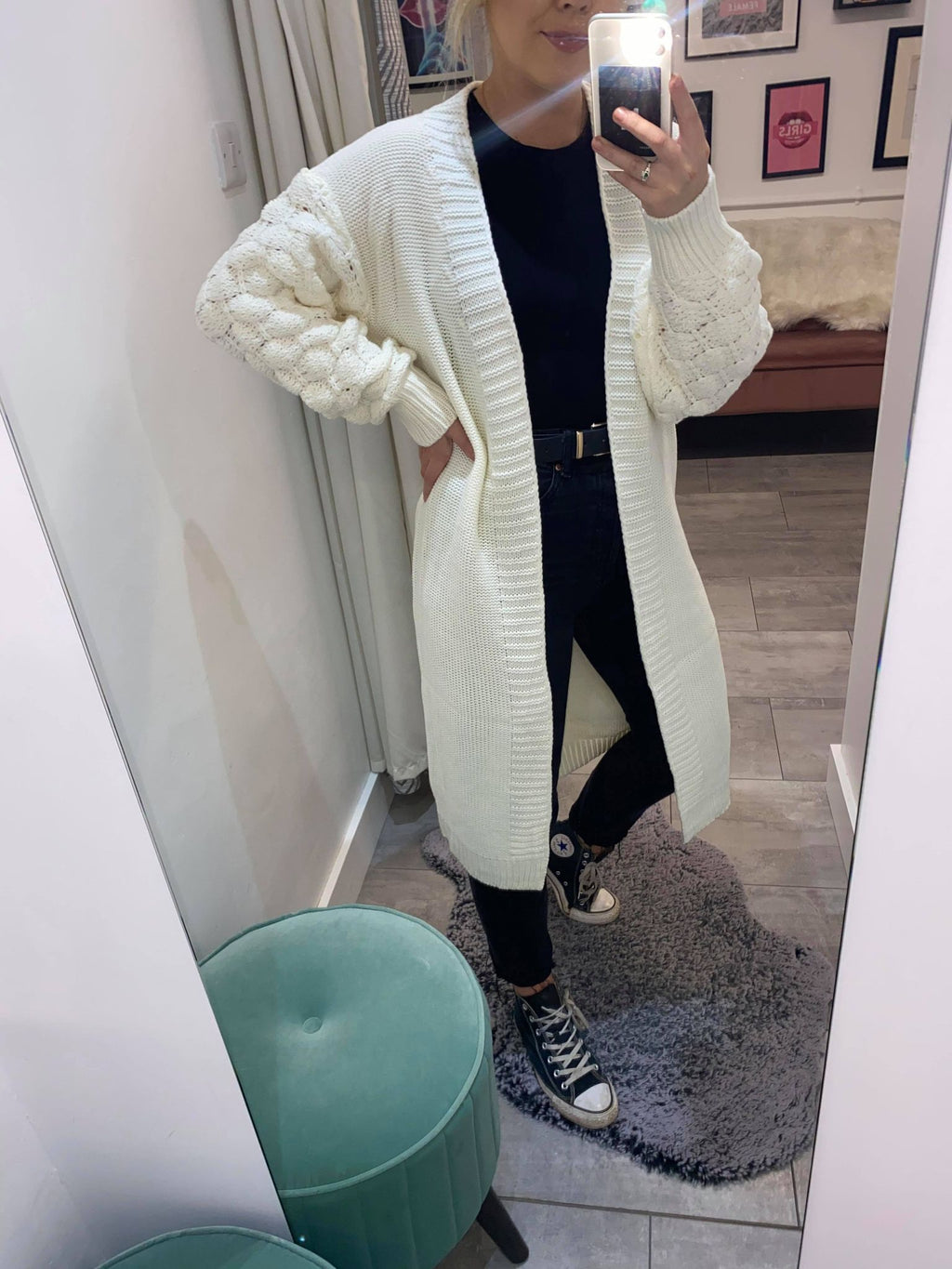 Add style to your cosy knitwear collection with our beautiful Kendall cardigan. This longline cardi features long bobble balloon sleeve, ribbed detailing all over with a contrasted hem. Pair with jeans and trainers or leather look trousers and heels for a more glam look