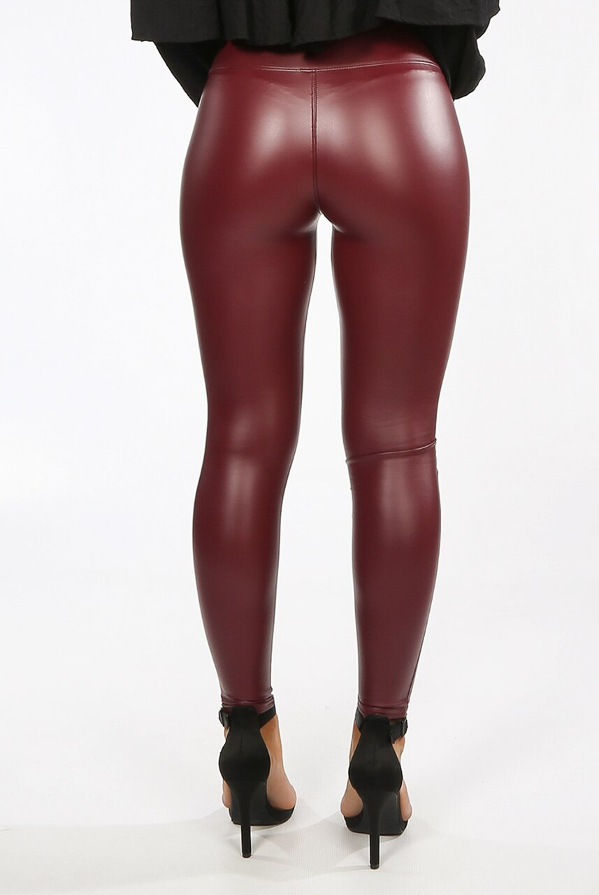 Burgundy sleek faux leather leggings