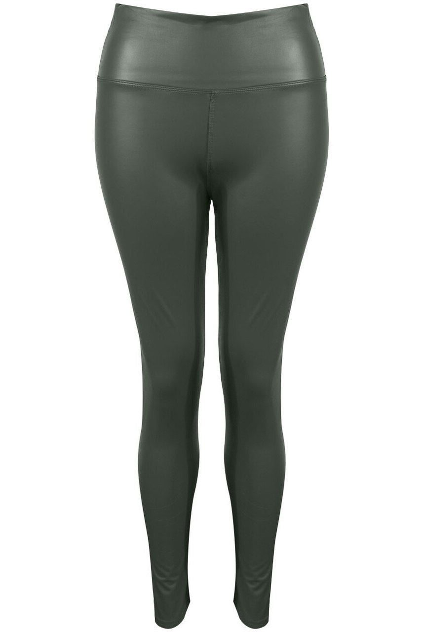 Khaki sleek faux leather leggings