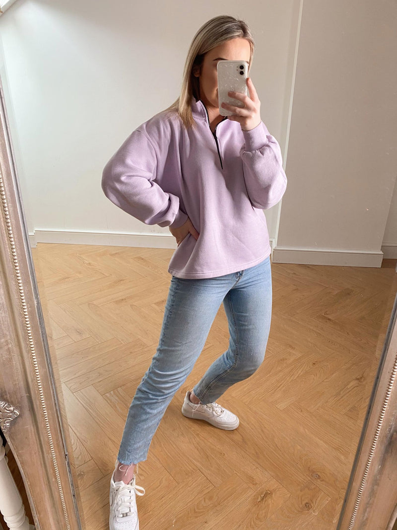 Oversized Fleece Sweatshirt - Lilac