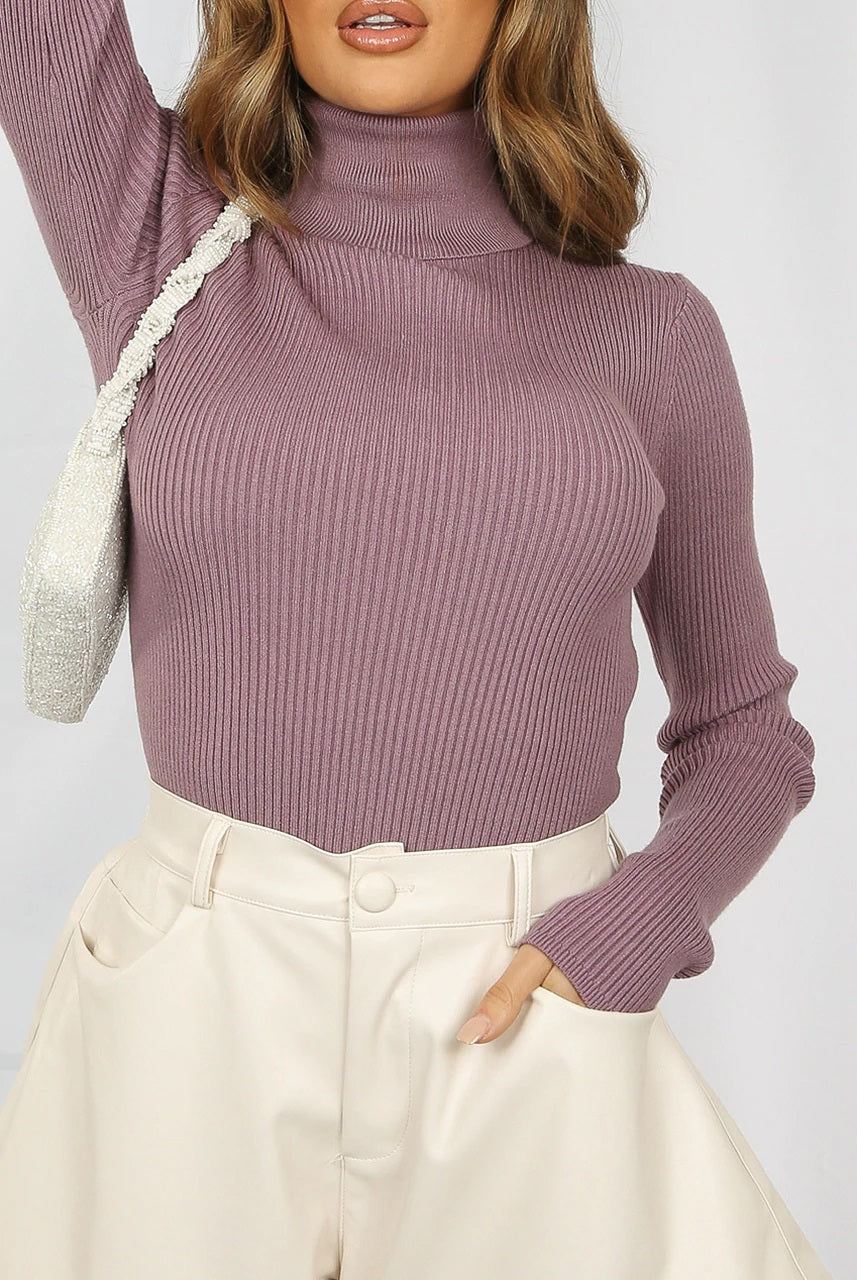 Purple High Neck Ribbed Jumper