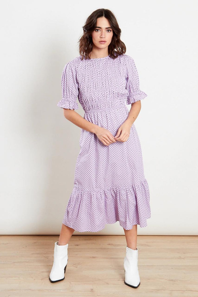 Lilac Shirred Frill Hem Midi Dress