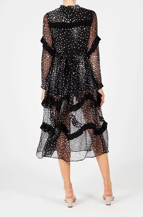 LORENZO star print sheer midi dress