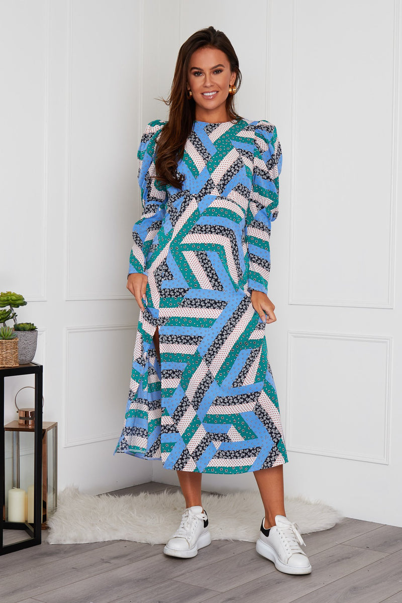 Lucy Long Puff Sleeve Split Leg Midi Dress Blue