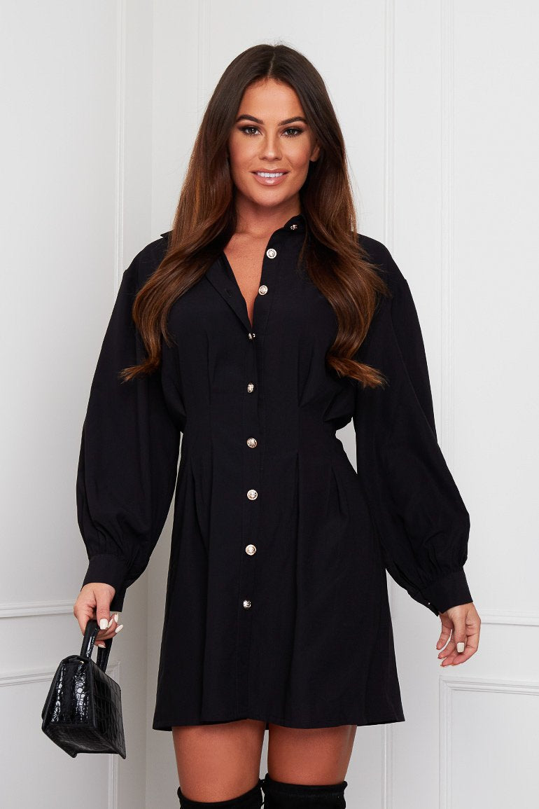 Be a chic queen in our Maeve shirt dress. Featuring relaxed puff long sleeves with a fitted cuff, a pleated fitted waist, buttons to the front and a shirt collar. This understated dress looks great with boots, trainers and heels, pair with your fave clutch for a stylish but casual look.   Model wears a UK 8 and is 5'7