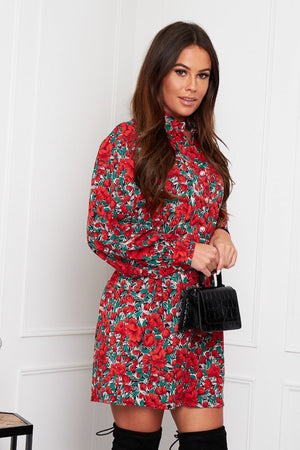 Maeve Pleated Waist Detail Shirt Dress in Red Floral.