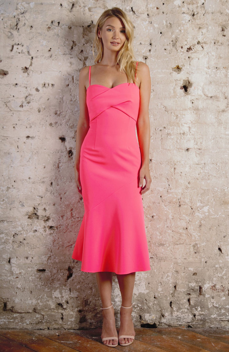 MILLY fitted bodice flared hem midi dress - coral