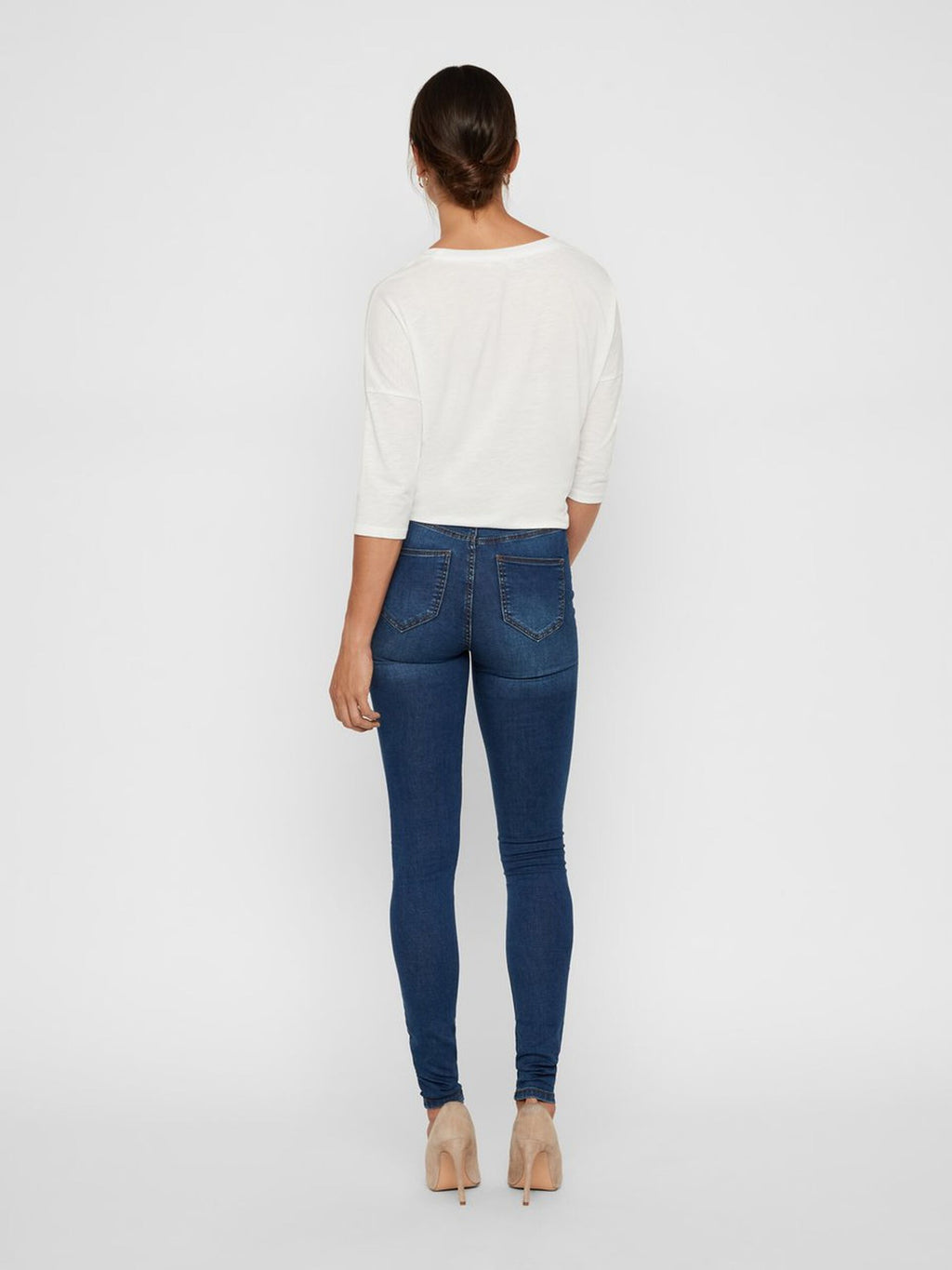 Noisy May Callie High Waist Skinny Fit Jeans - Medium Blue