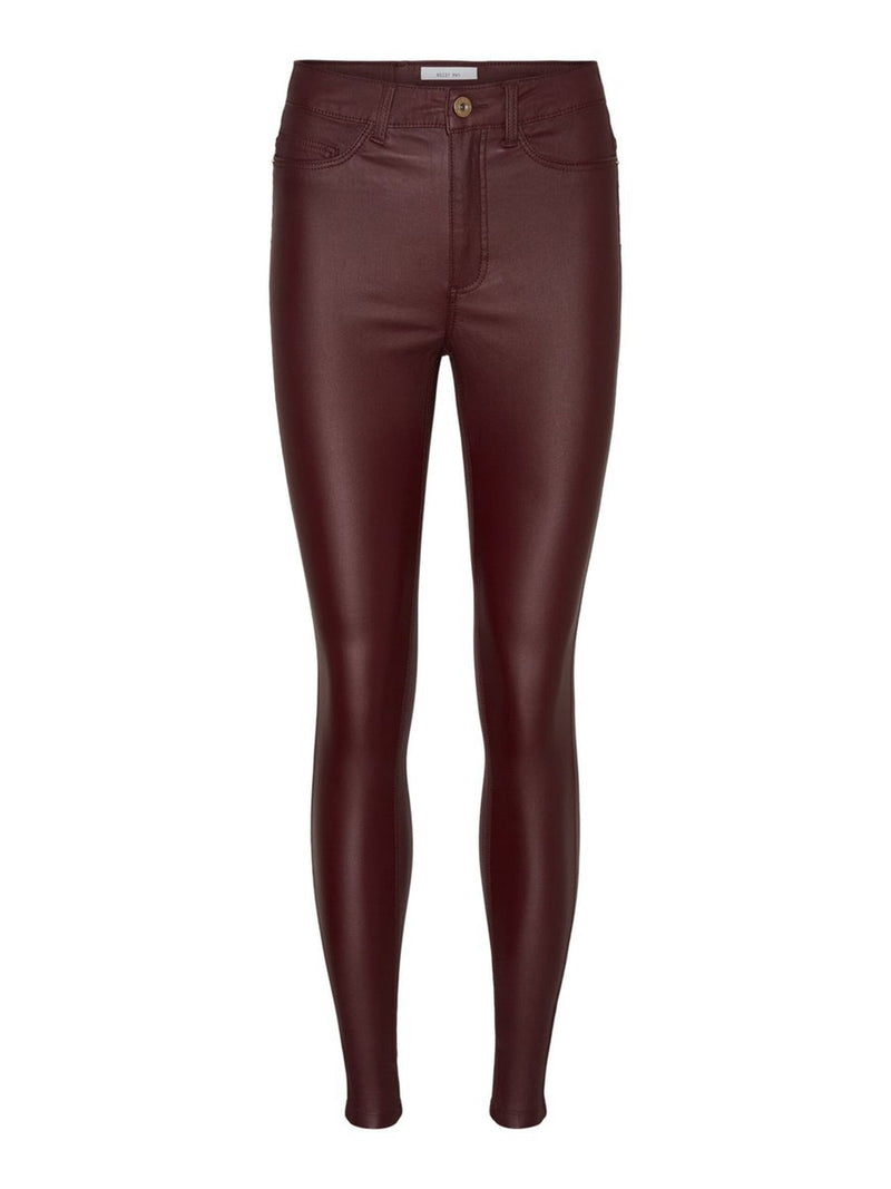 Noisy May Callie Coated High Waist Trousers - Burgundy