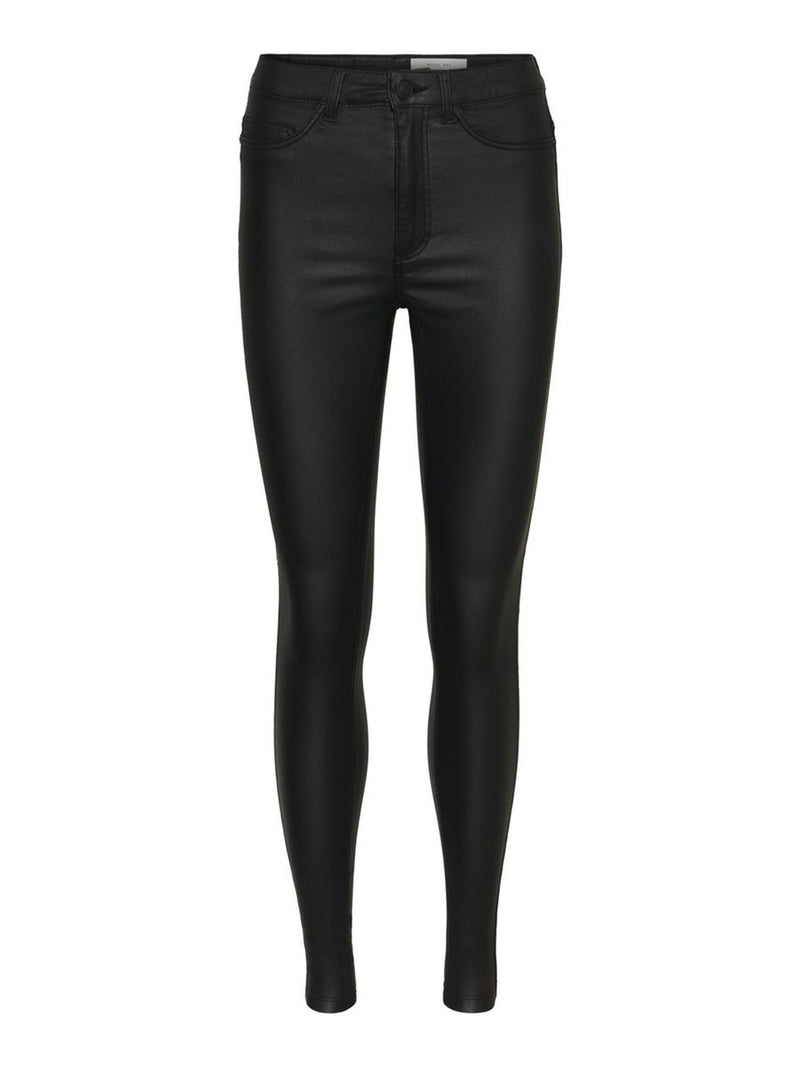 Noisy May Callie Coated High Waist Trousers - Black