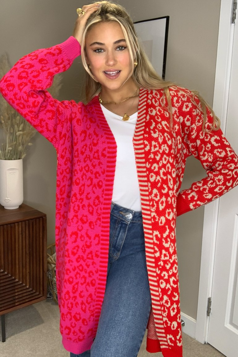 Quinn Mixed Print Long Cardigan Red/Pink