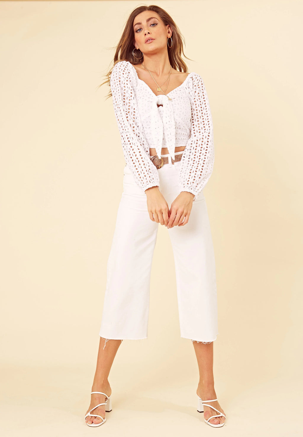 Little white lies - broderie anglais tie front crop top with sweetheart neckline