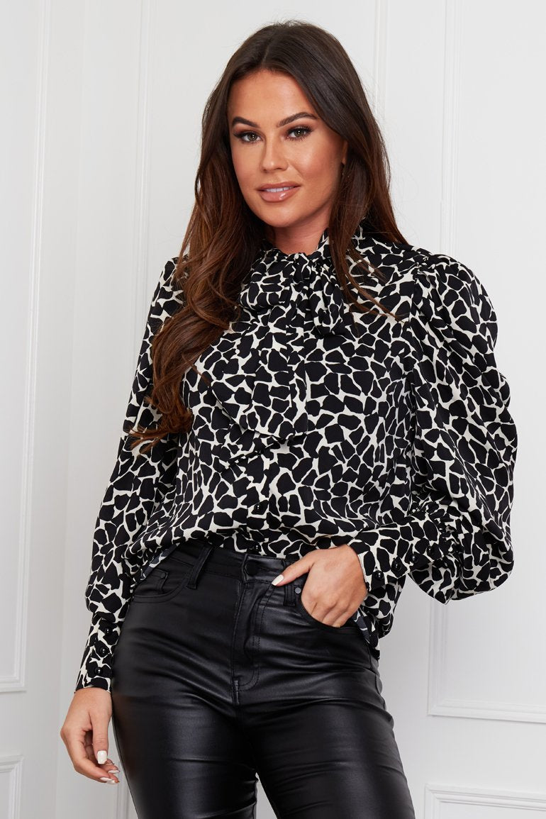 Scarlett Puff Sleeve Pussycat Bow Blouse Black Animal