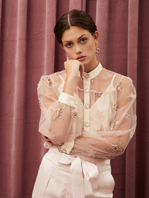 Sister Jane Contrasted blouse in a star sequin embroidered fabric. Complete with an adjustable slip lining