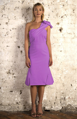 STELLA fitted one-shoulder midi dress - lilac