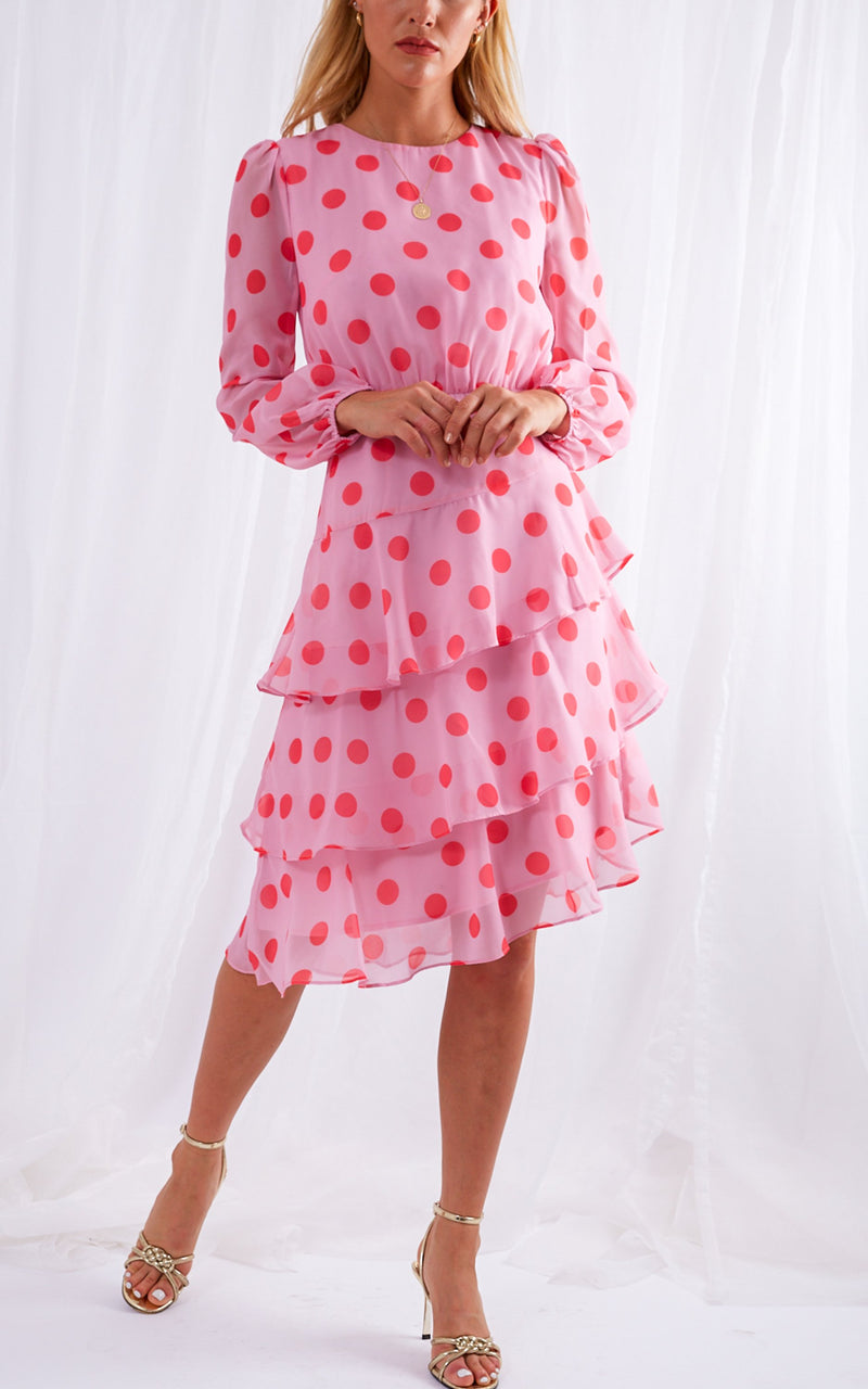 TILLY dress - pink with red polka dot