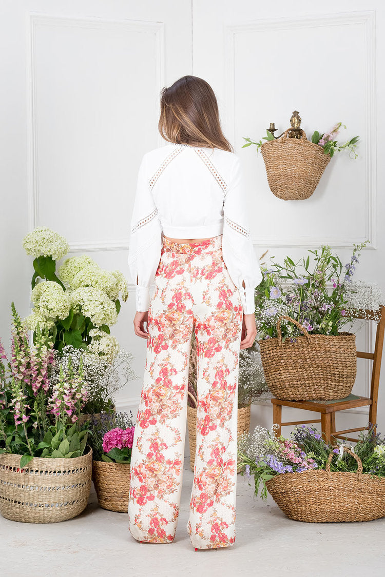 Floral high waisted flared trousers