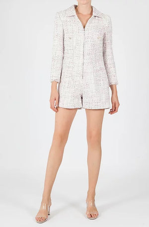 WHISPER  tweed zip up front playsuit