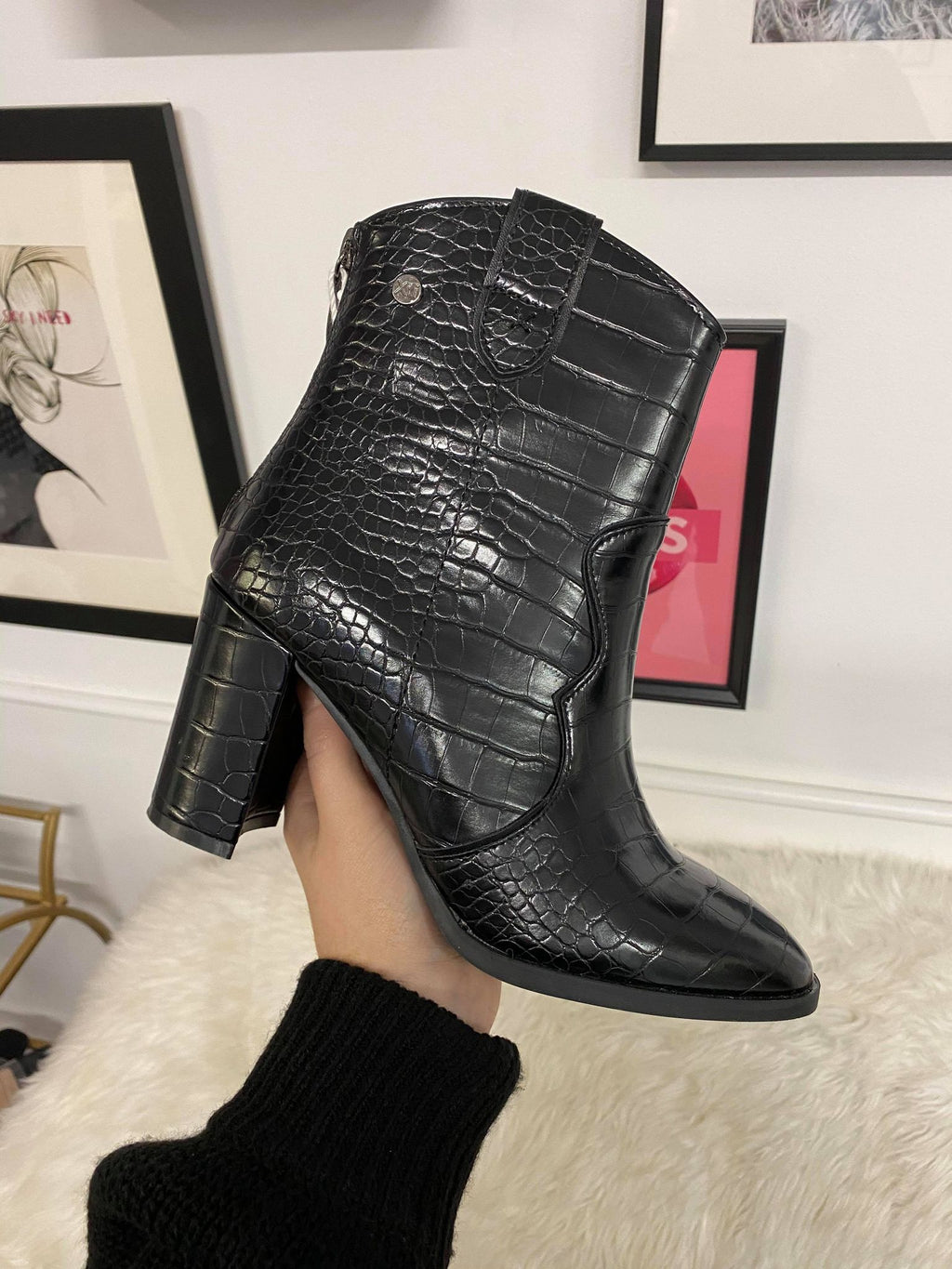 Black Croc Print Ankle Boots by XTI