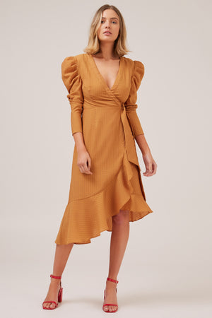 ADVANCED wrapped long sleeve asymmetrical dress with volume shoulders - mustard