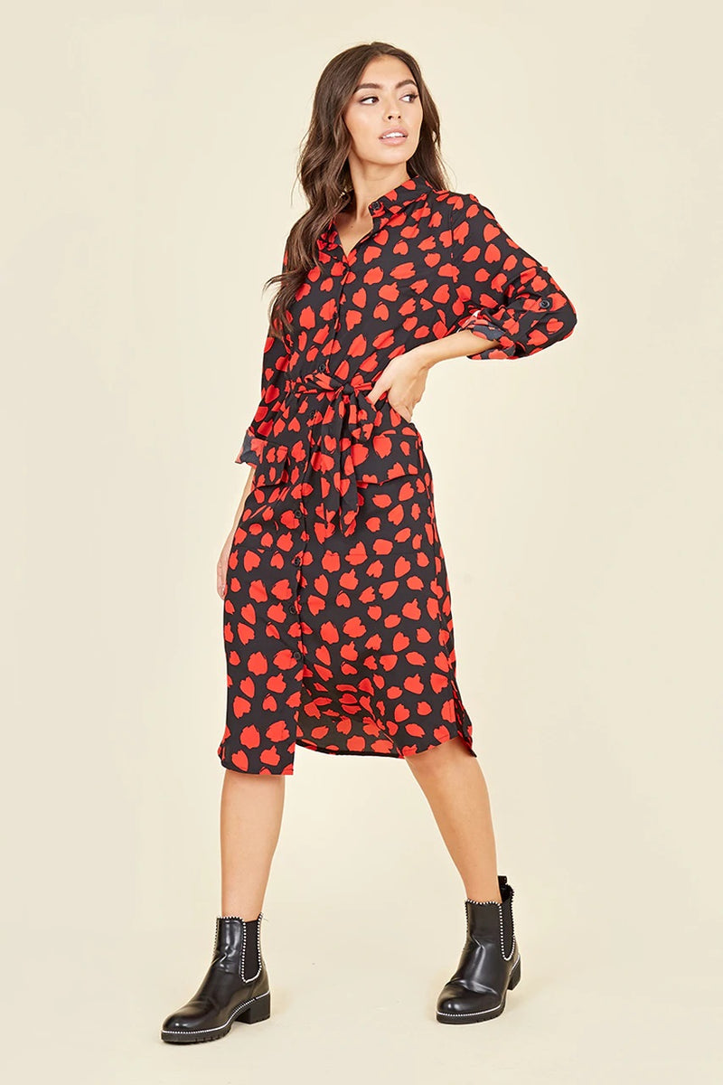 AIMEE abstract print utility pocket midi shirt dress
