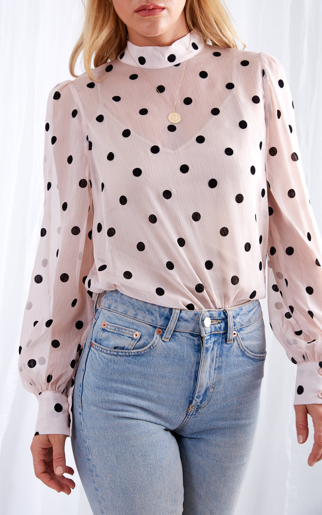 AMBRE sheer polka dot blouse - pink
