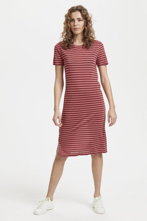 CADIS striped crew neck jersey dress - apple butter