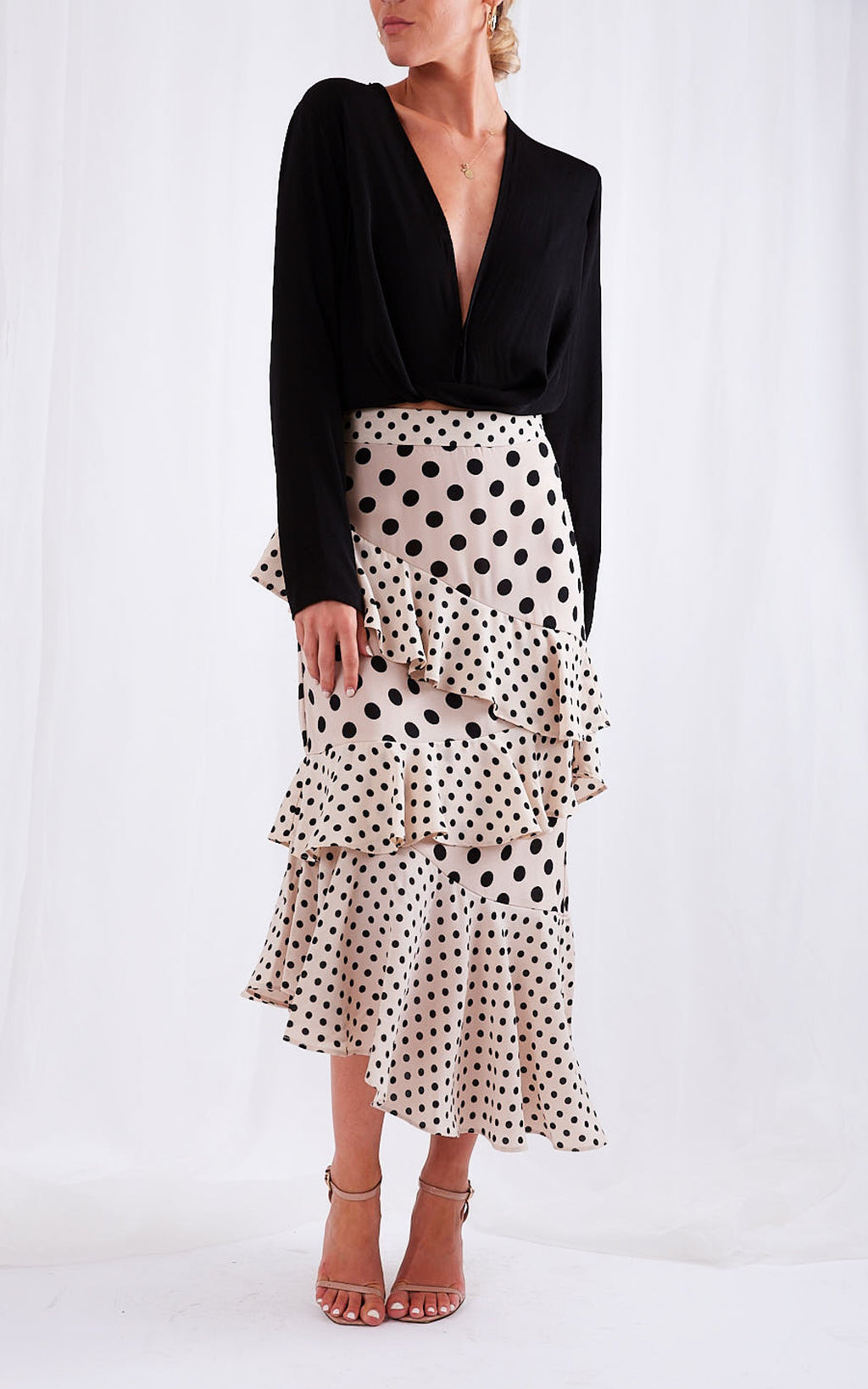 ASHTON ruffle midi skirt - mixed polka dot print