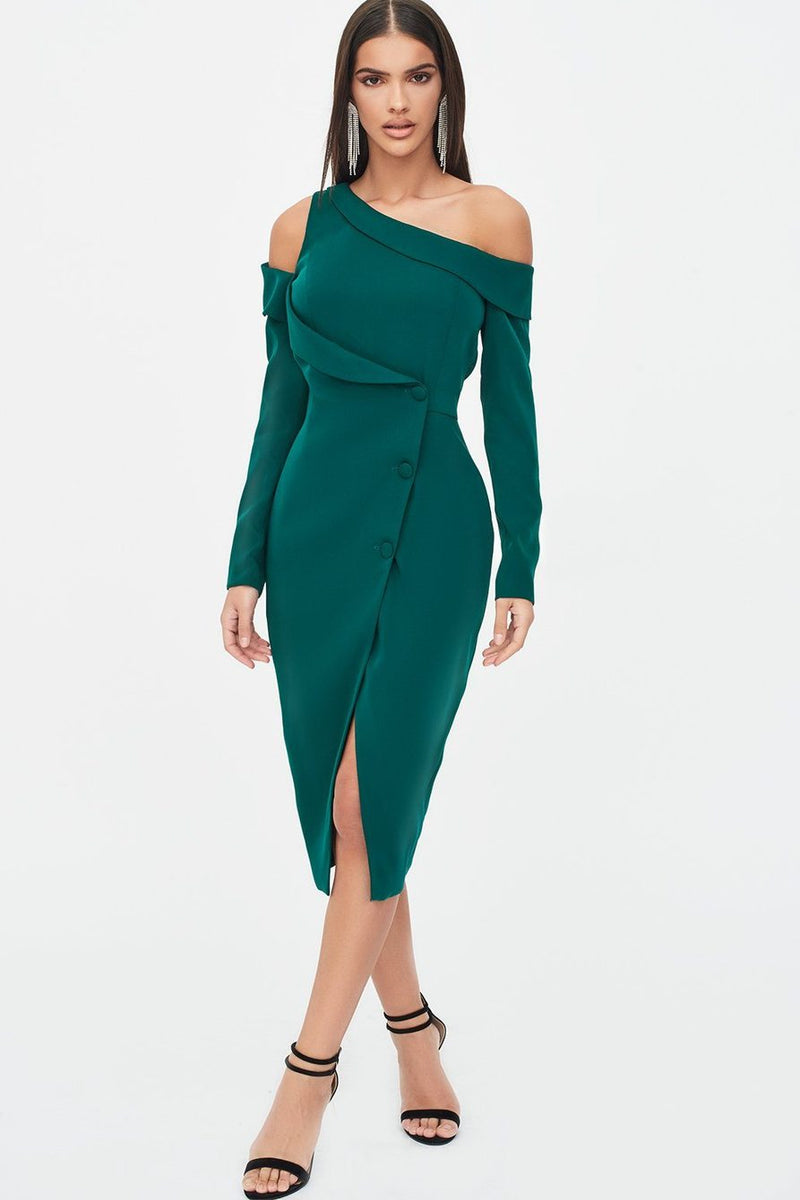 Asymmetric blazer midi dress - emerald green