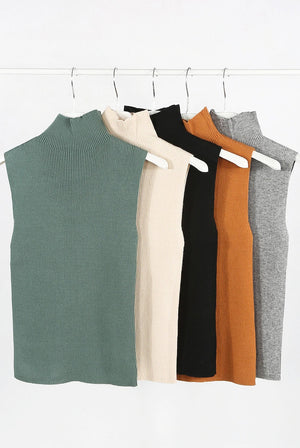 Ribbed high neck sleeveless top (multiple colours)