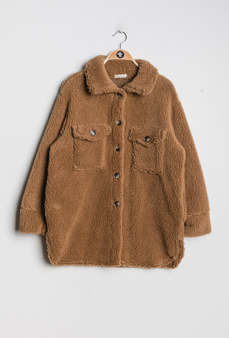 Borg Oversized Camel Shacket.