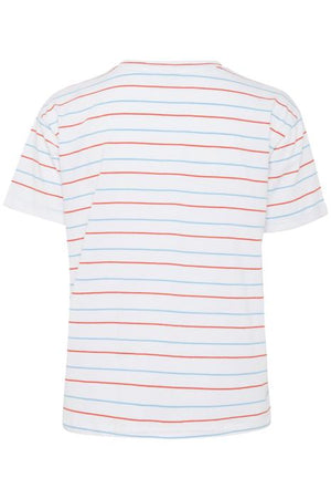 BETHANY R striped crew neck embroidered slogan t shirt - bright white