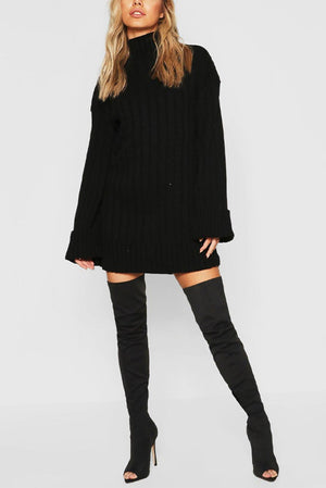 Black Oversized Rib Knit Longline Jumper  with wide sleeve turn up.