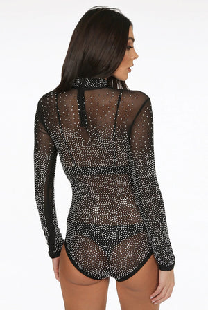 Black sheer studded bodysuit