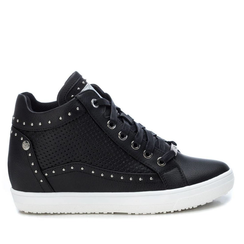 Xti Black PU on trend studded high top sneakers with white 2cm outer sole and inner 5cm wedge for extra height featuring cushioned sole.