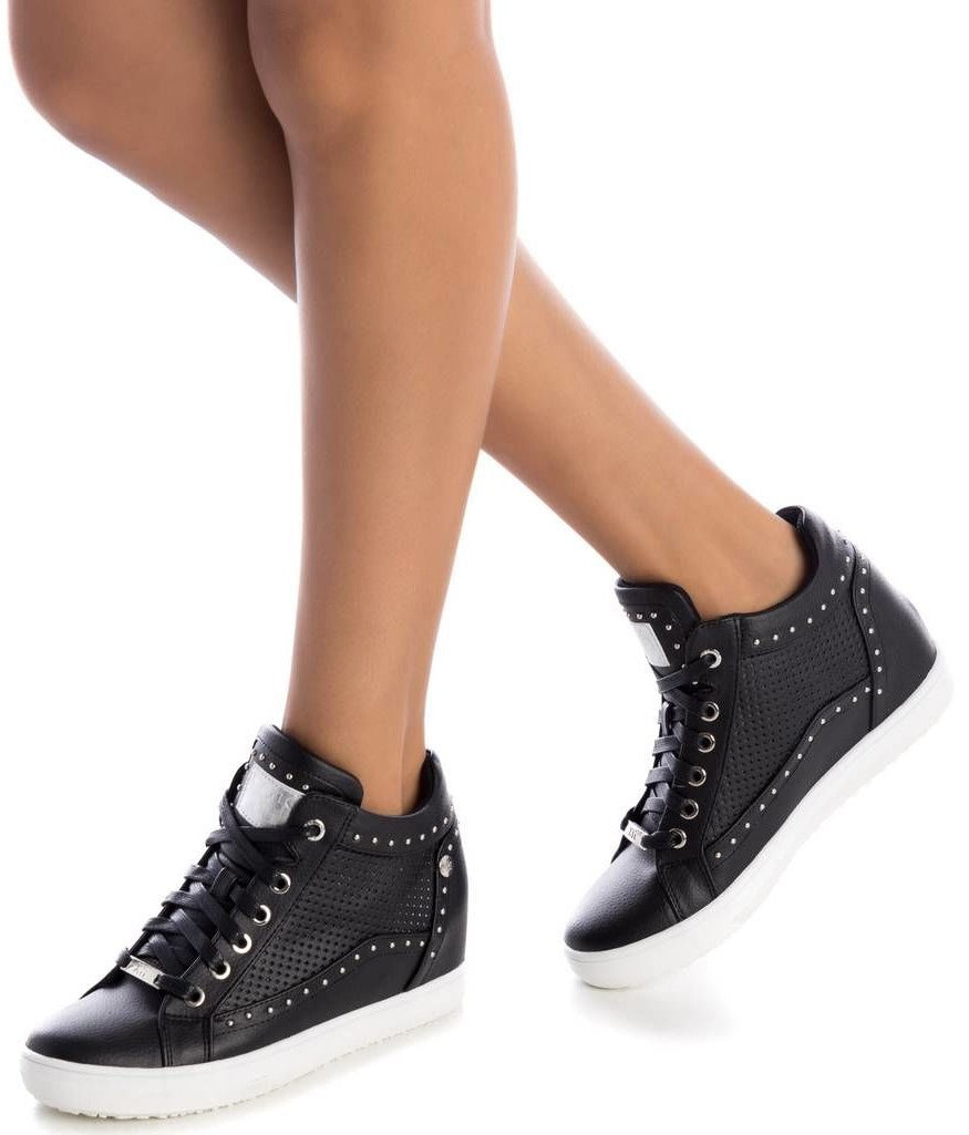 Black PU studded high top sneakers with inner wedge
