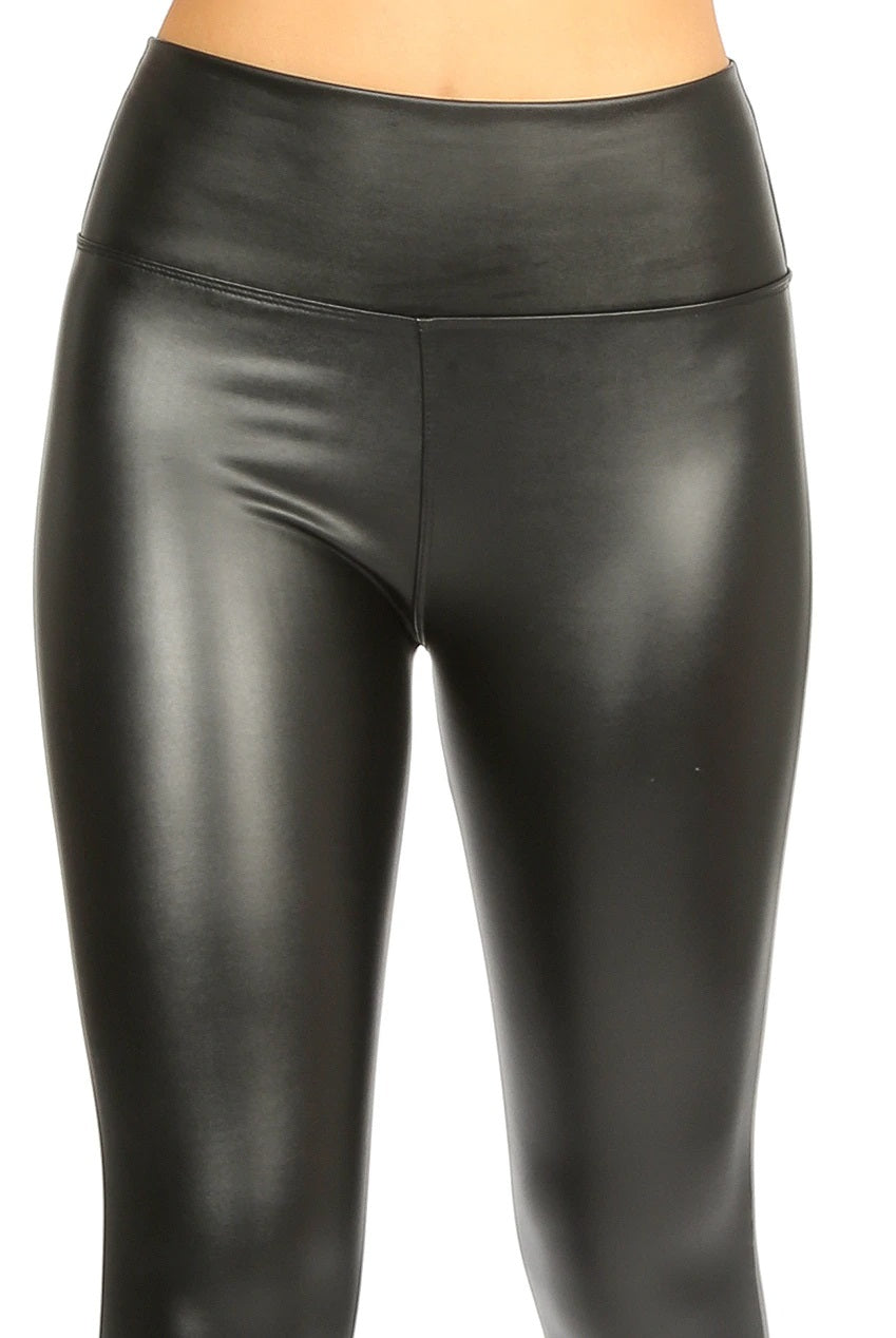 TARA high waist sleek faux leather leggings - black