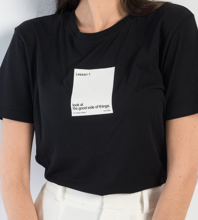 Super soft slogan tee with the right message; Look at the good side of things.  Sinéad is a UK 8 and is wearing M