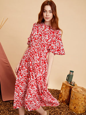 Blaze flare sleeve midi dress