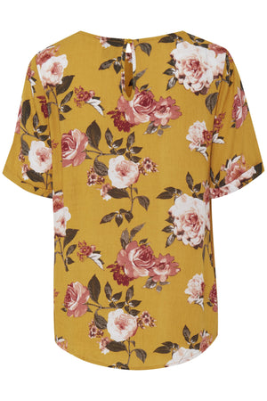 BLOSSOM citrus short sleeve floral top