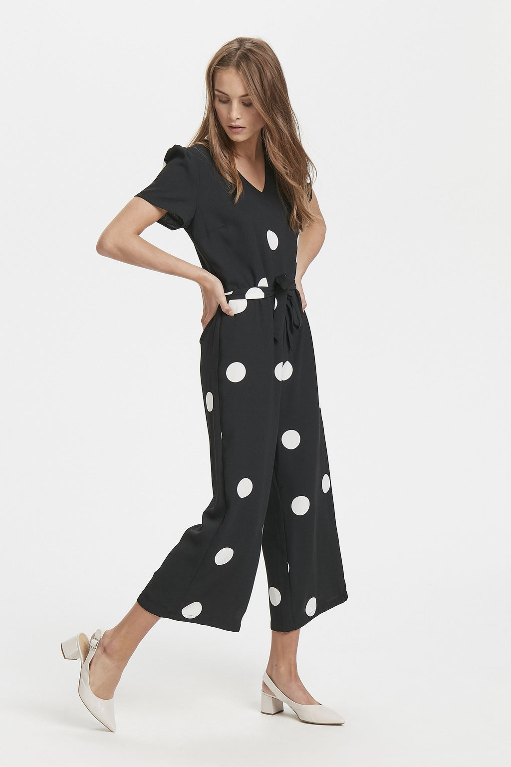 BOBBY polkadot short sleeve wide leg cropped jumpsuit