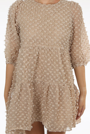 Chiffon textured shift overlay dress - camel