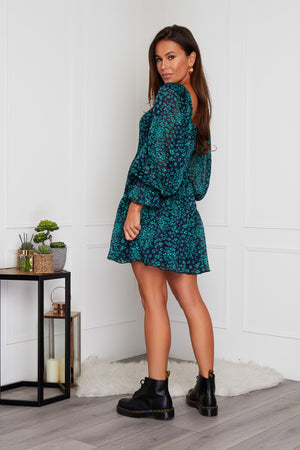 Charlotte Square Neck Puff Sleeve Dress
