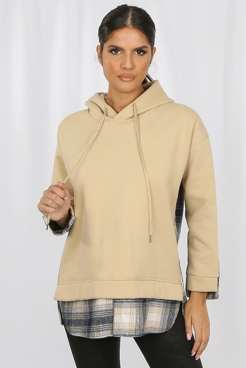 Check Under Detail Hoodie - Beige