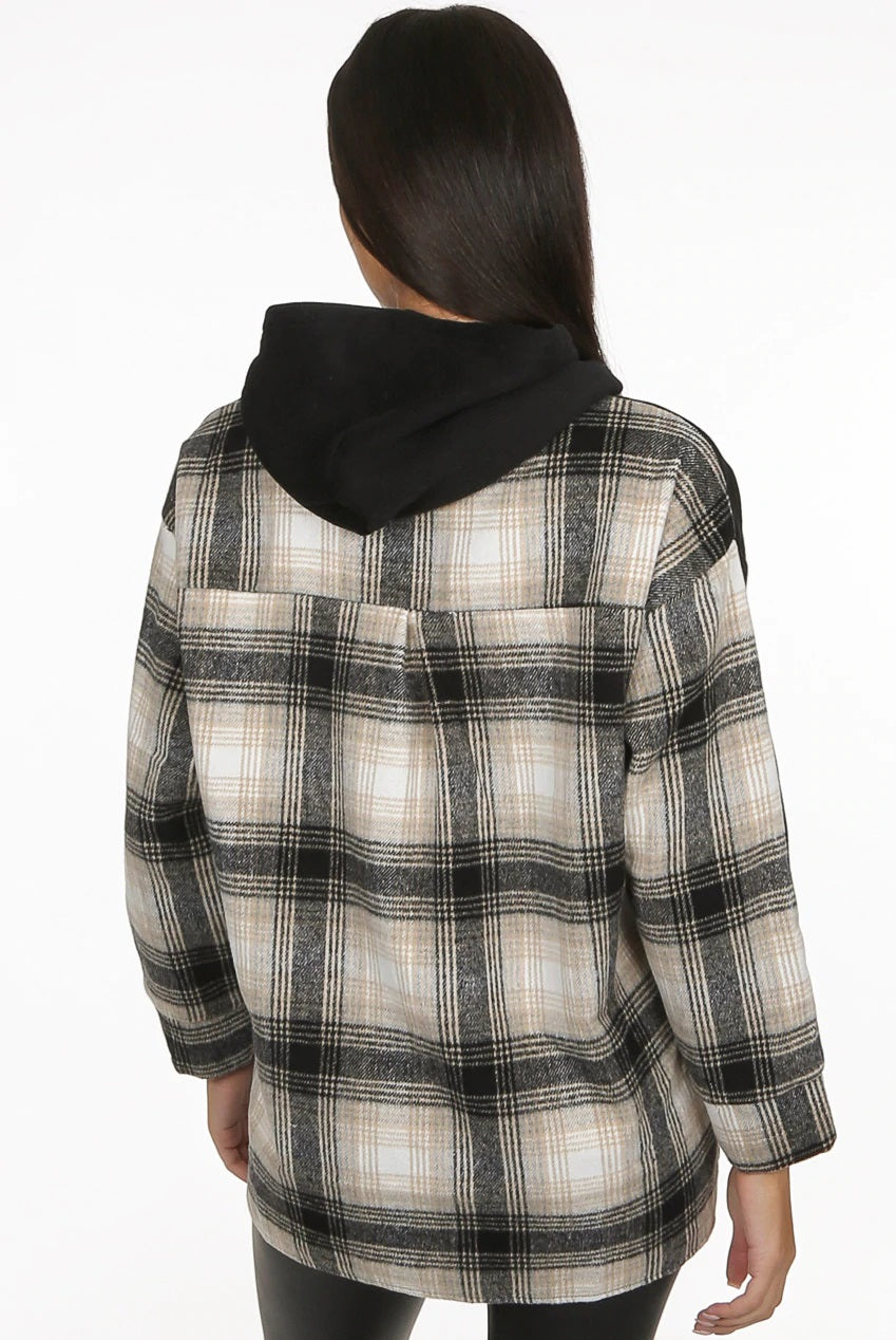 Black Check Under Detail shirt combo Hoodie