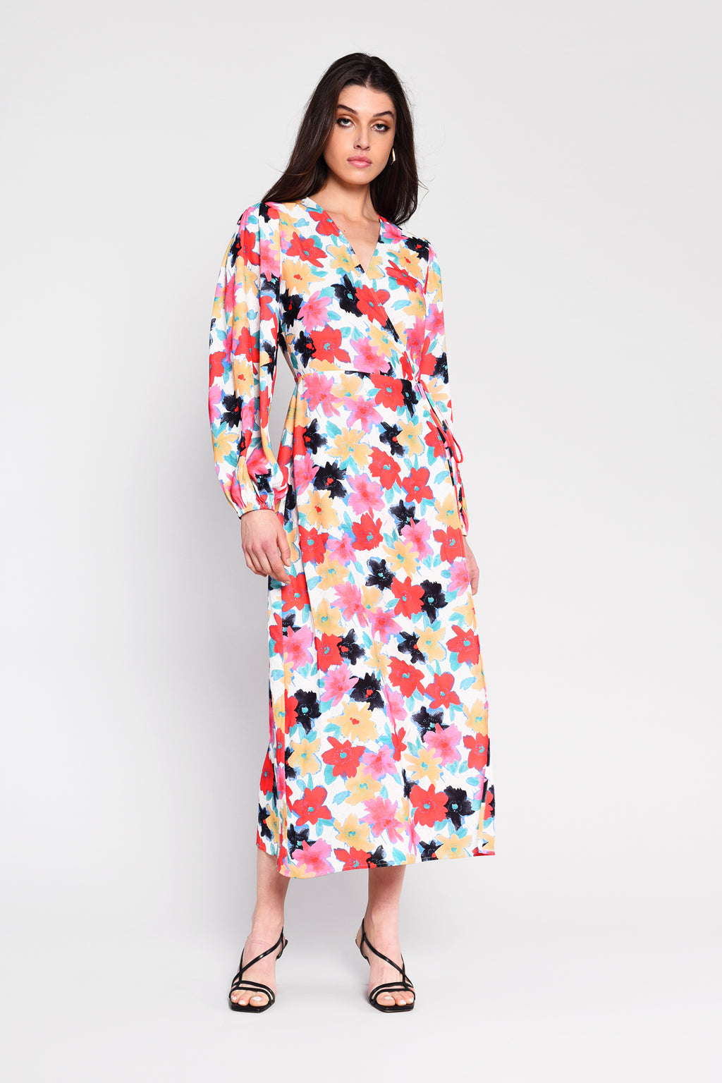 SINEAD multi floral midi wrap dress