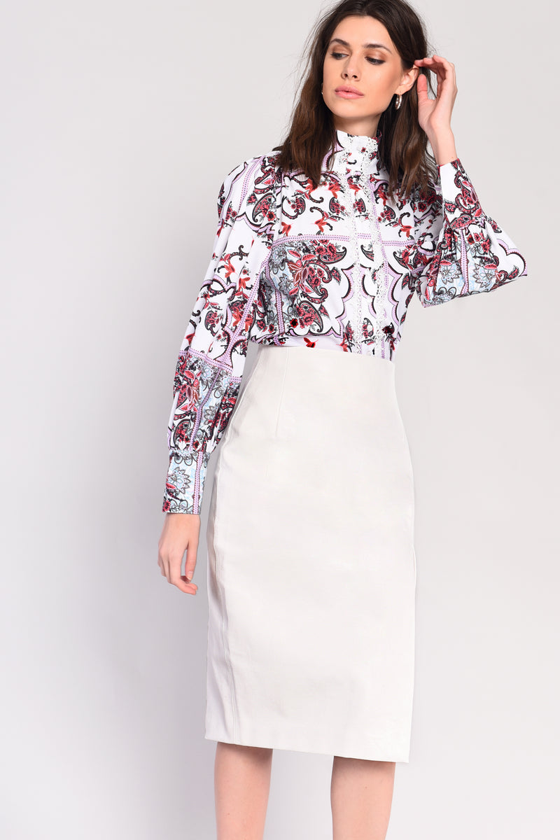 Faux leather midi skirt with side split - white